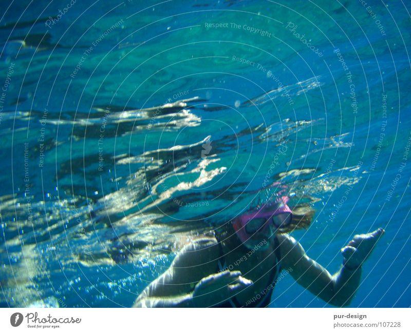 unterwasser6 Frau Wasser Meer blau Ferien & Urlaub & Reisen Wellen Haut tauchen Schwimmen & Baden Bikini Schnorcheln Kreta Meerwasser Paleochora