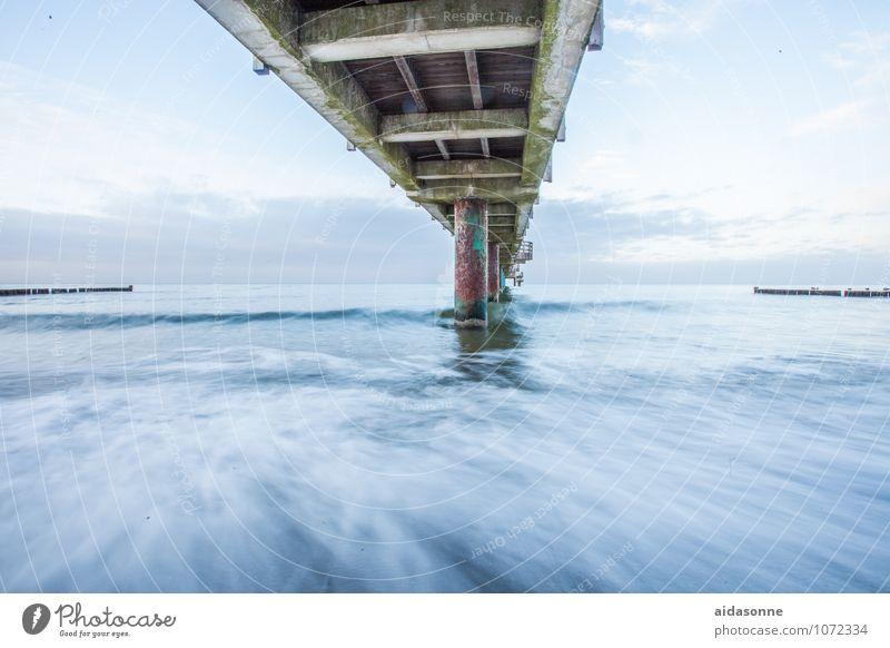 Seebrücke Landschaft Wasser Horizont Wetter Wellen Ostsee Heilligendamm Deutschland Europa Brücke Sehenswürdigkeit Wellness Mecklenburg-Vorpommern Farbfoto