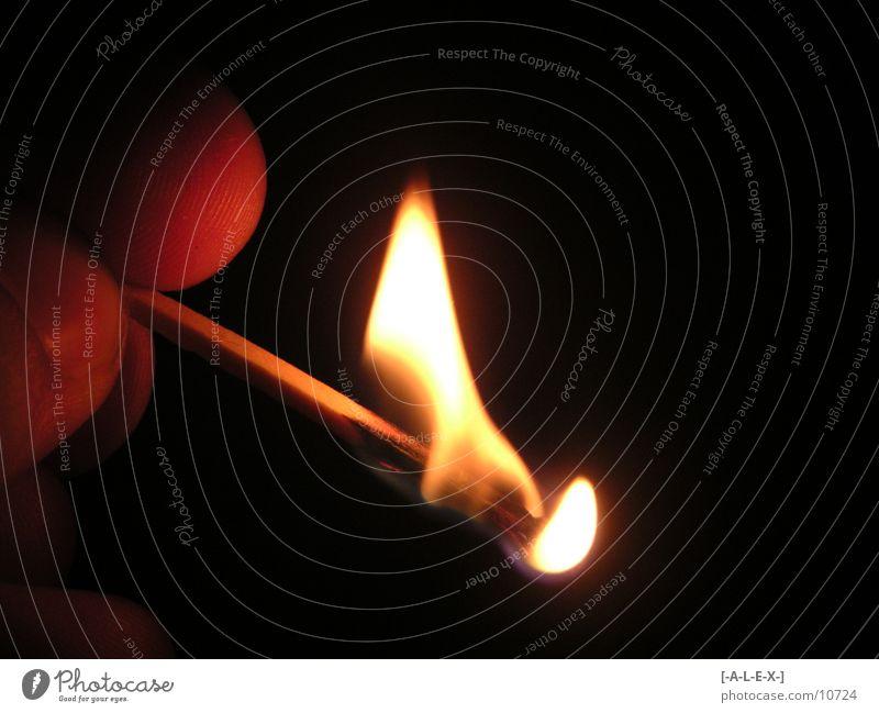 Burn Time Streichholz Licht Makroaufnahme Nahaufnahme Brand Brenendes Streichholz offenes feuer