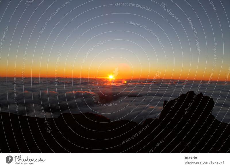 Sonnenaufgang über den Wolken Himmel Natur Ferien & Urlaub & Reisen Sonne Erholung Landschaft Wolken einzigartig Unendlichkeit rein erleben La Réunion