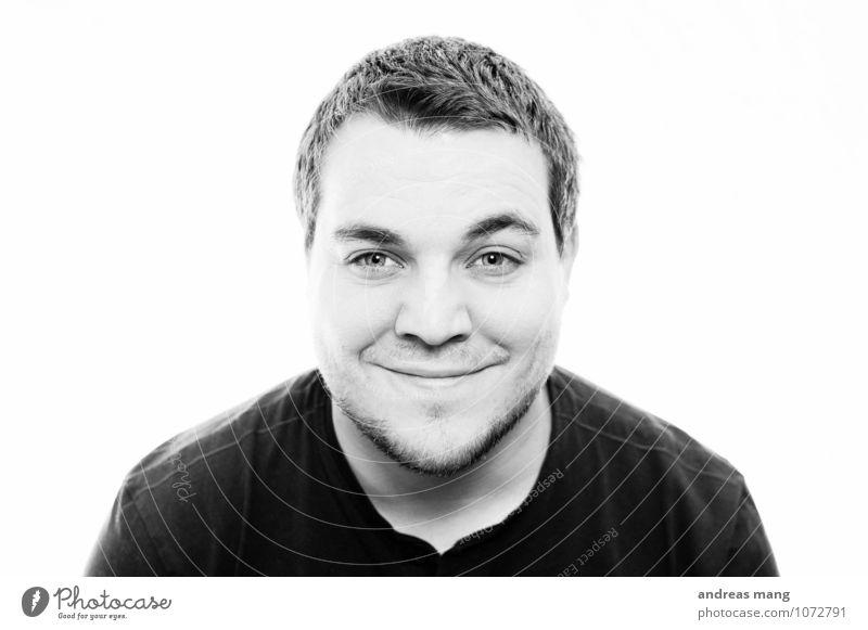 Lächeln! maskulin Junger Mann Jugendliche Erwachsene Kopf 18-30 Jahre T-Shirt schwarzhaarig kurzhaarig Kommunizieren Blick Coolness authentisch frech