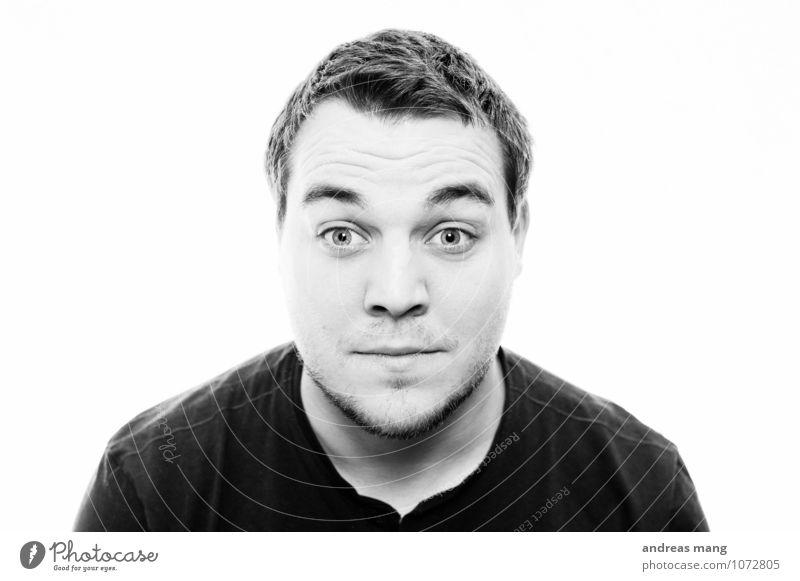 Was!? Junger Mann Jugendliche Erwachsene Kopf 18-30 Jahre T-Shirt schwarzhaarig kurzhaarig entdecken Blick authentisch einzigartig Neugier Gefühle Überraschung
