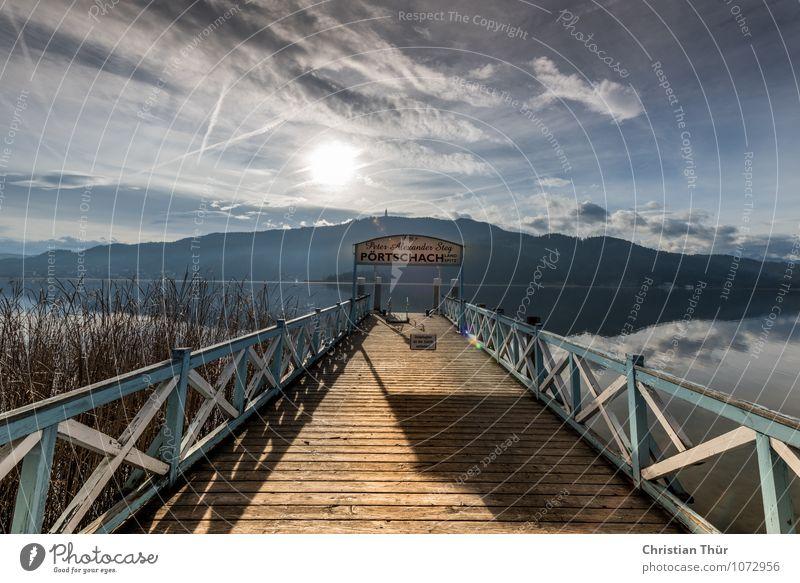 Steg Himmel Natur Ferien & Urlaub & Reisen Pflanze Sommer Erholung Landschaft ruhig kalt Umwelt Berge u. Gebirge Leben Gefühle Freiheit See Felsen