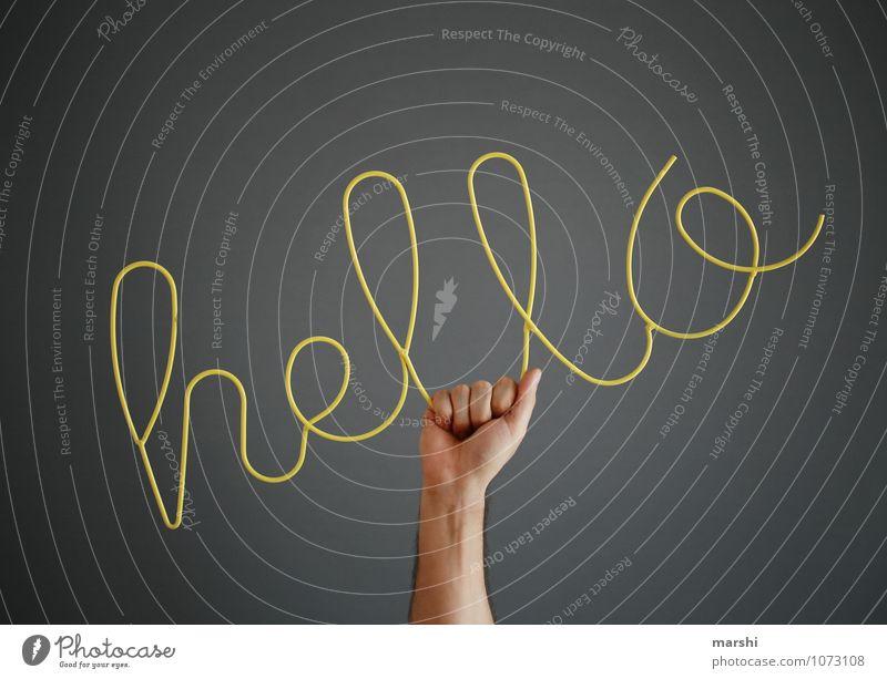*HELLO* Mensch Hand Haus gelb Gefühle Stimmung Lifestyle Wohnung Freizeit & Hobby Häusliches Leben Design Dekoration & Verzierung Schilder & Markierungen Arme Schriftzeichen Textfreiraum