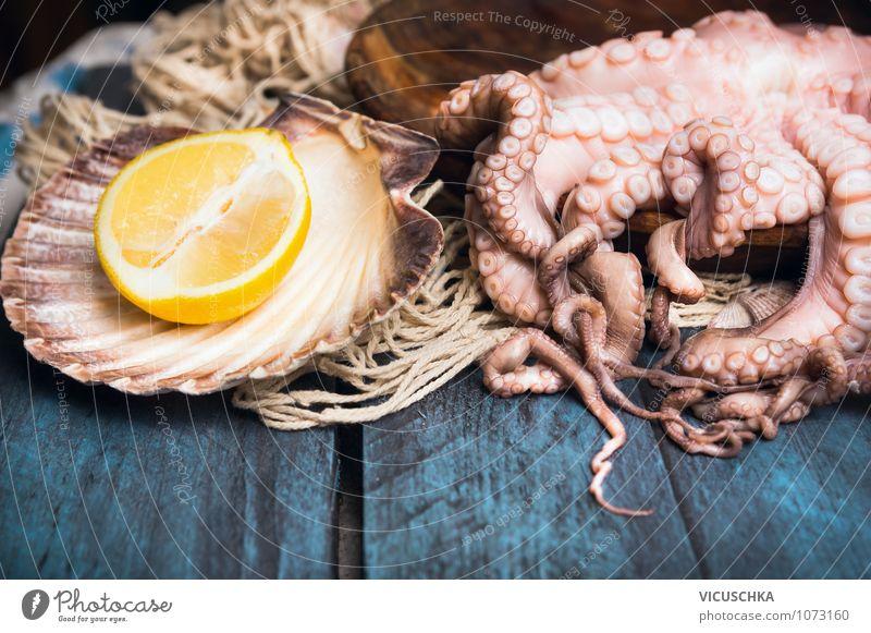 Octopus roh mit Zitrone blau Gesunde Ernährung Stil Hintergrundbild Lebensmittel Foodfotografie Frucht Design Ernährung Tisch Kochen & Garen & Backen Küche mediterran Bioprodukte Diät Zitrone