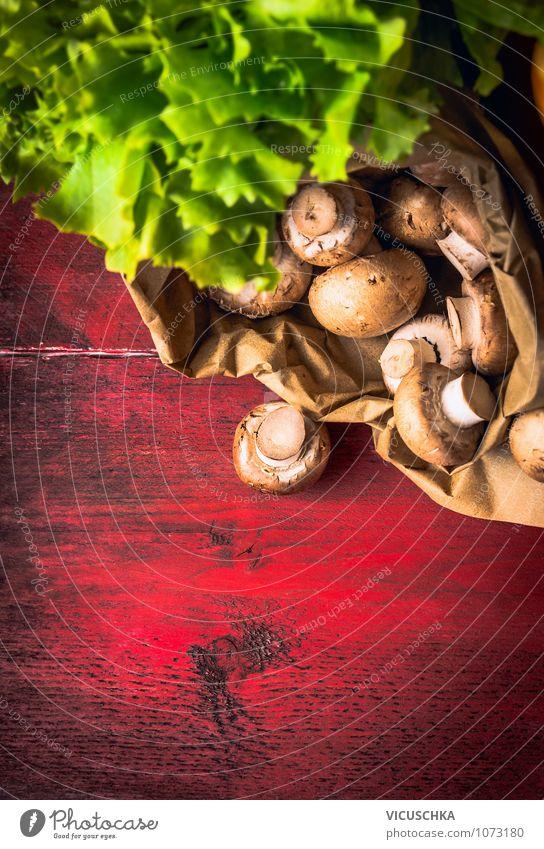 Champignons in Papierbeutel alt grün Farbe rot Gesunde Ernährung Stil Lebensmittel Design Tisch Kochen & Garen & Backen Küche Gemüse Bioprodukte Diät