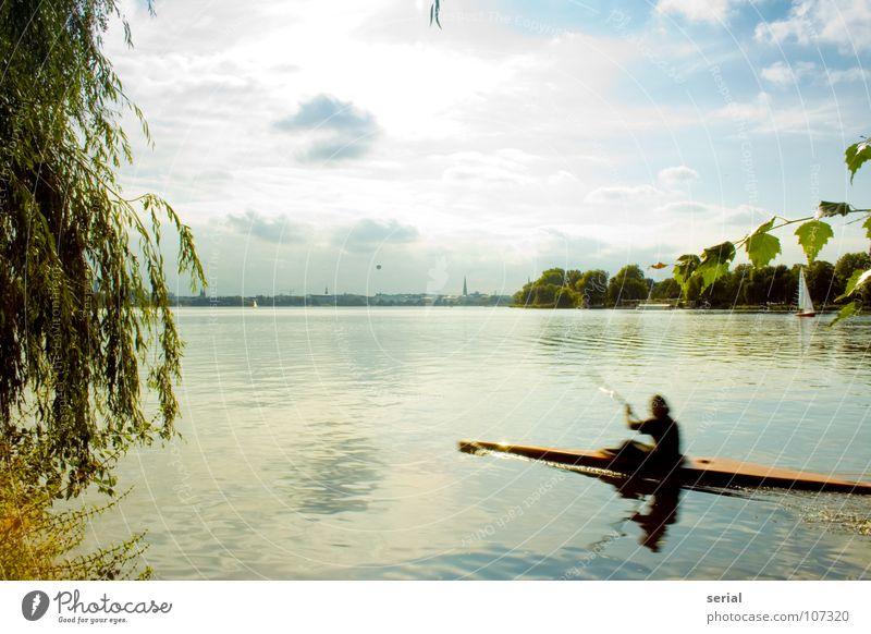 er hat doch keine zeit … Mensch Himmel Wasser blau grün Sonne Blatt Wolken gelb grau Wärme Küste Freizeit & Hobby maskulin Hamburg Geschwindigkeit