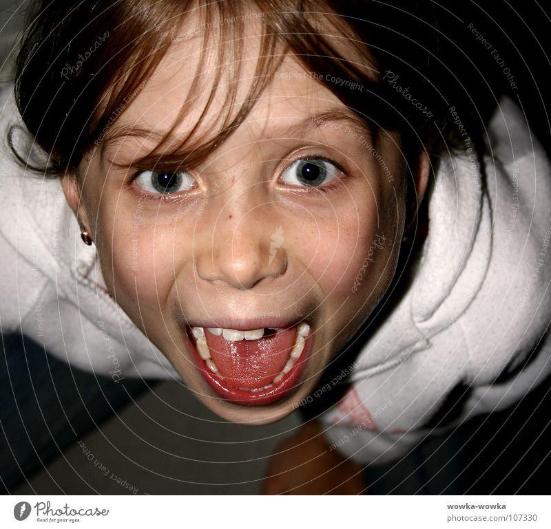 Angst Mensch rot schwarz Mund Zunge