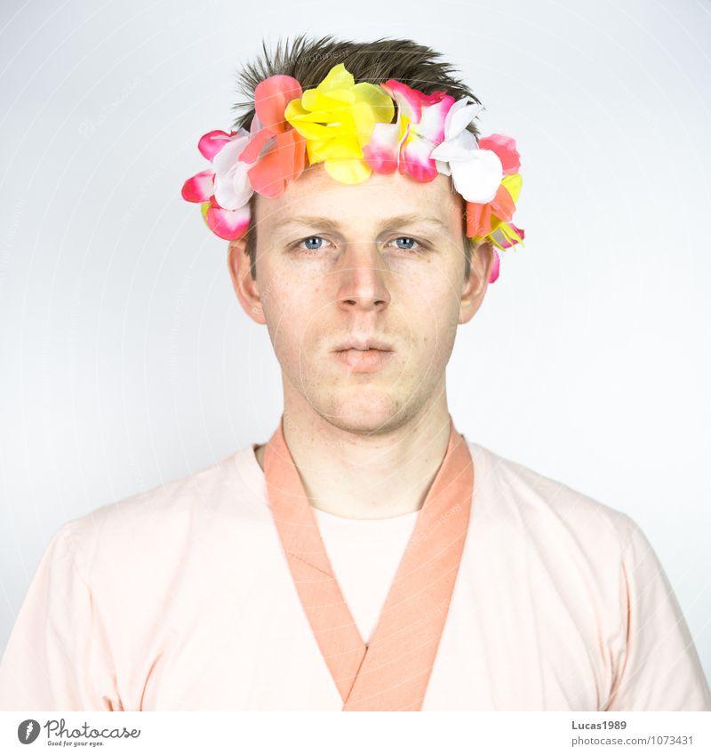 Farbstudie - Blumen im Haar Mensch Jugendliche Mann rot Junger Mann 18-30 Jahre Erwachsene Blüte Haare & Frisuren Kunst Mode rosa maskulin blond Bekleidung