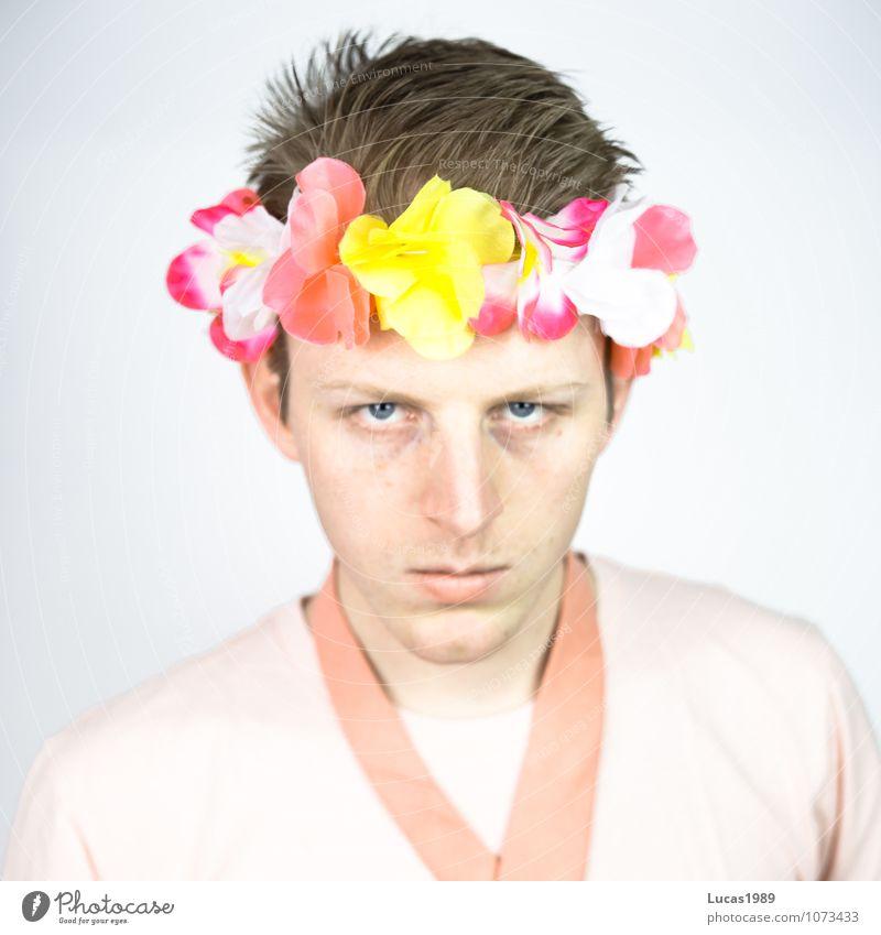 Farbstudie - Flower Power Mensch Jugendliche Mann rot Blume Junger Mann 18-30 Jahre Erwachsene Blüte Gesundheit Denken Mode rosa maskulin frisch verrückt