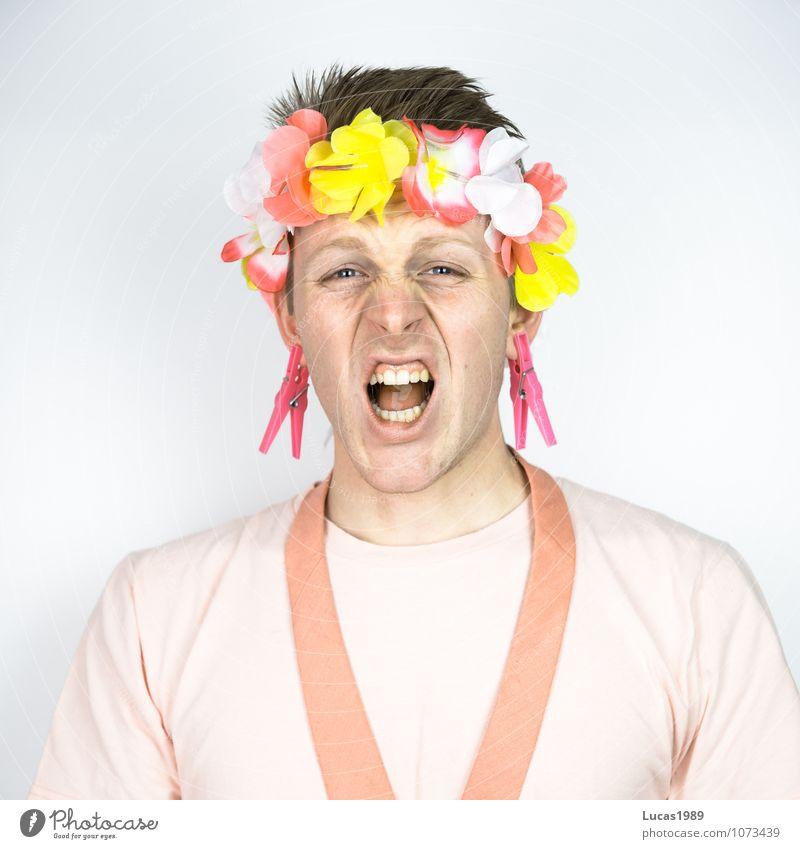 Farbstudie - Rosa Schmerz Mensch maskulin Junger Mann Jugendliche Erwachsene 1 18-30 Jahre T-Shirt Krawatte Kimono Blütenkette blond kurzhaarig Wäscheklammern