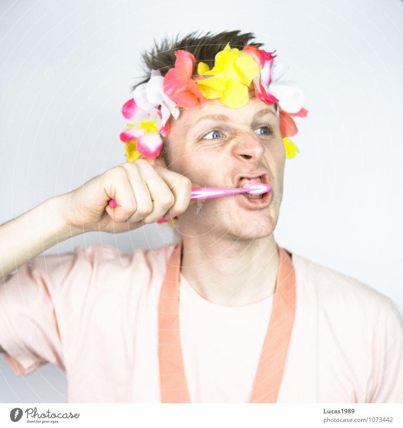 Person in rosa putzt Zähne Zahnarzt Zahnpflege Gebiss Gesundheitswesen Mensch maskulin Junger Mann Jugendliche Erwachsene 1 18-30 Jahre T-Shirt Krawatte Kimono