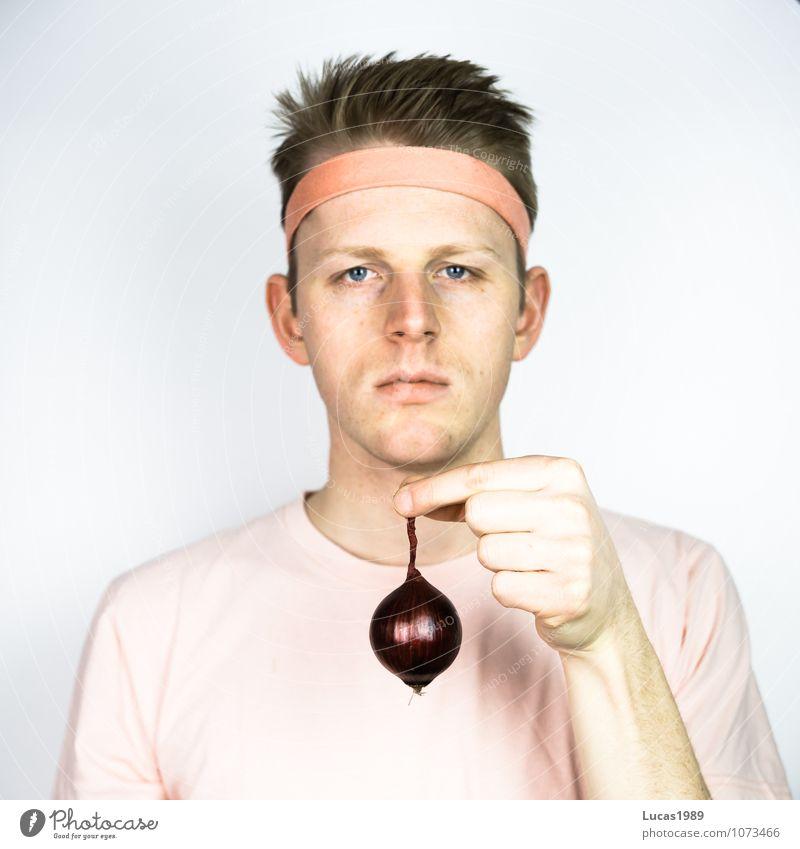 Farbstudie - schon wieder Zwiebel rot Vegane Ernährung Vegetarische Ernährung Mensch maskulin Junger Mann Jugendliche Erwachsene 18-30 Jahre T-Shirt Haarband