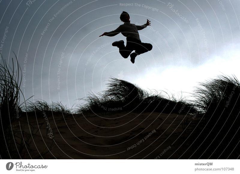 touch-and-go springen Zukunft Ferien & Urlaub & Reisen Jugendliche Unbekümmertheit Karriere Silhouette Wolken ruhig Wind Gras hoch Hintergrundbild Vordergrund