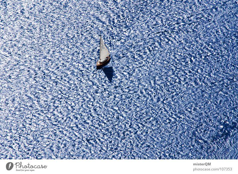 abandon the ship to the waves Wasserfahrzeug See Teich Meer Ferne Wellen Wind Einsamkeit ruhig Tiefgang Luft weiß dunkel Ferien & Urlaub & Reisen Erholung