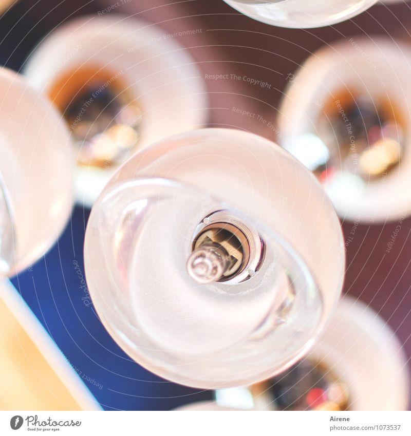 Lichttest Lampe Lampenschirm Glühbirne Glas leuchten hell rund rosa weiß Kugel Strukturen & Formen Glaskugel Farbfoto Innenaufnahme Menschenleer Kunstlicht