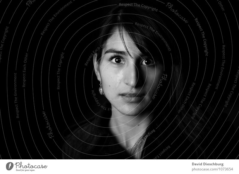 Momentaufnahme feminin Junge Frau Jugendliche Erwachsene Kopf Gesicht 1 Mensch 18-30 Jahre Gefühle Ehre Tapferkeit selbstbewußt Coolness friedlich