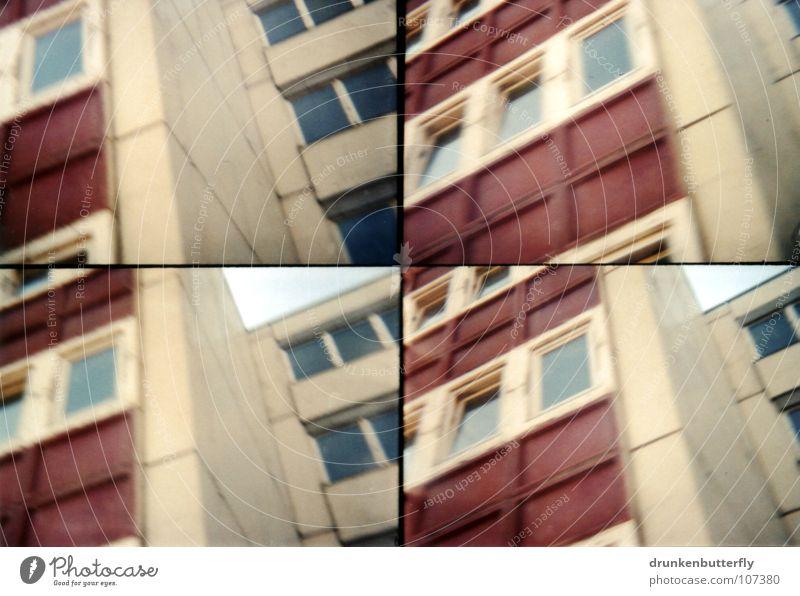 Lichtenberg Haus Fenster Hochhaus Beton rot grau trist Etage unten Altbau Neubau Wohnung Plattenbau Stein oben Lomografie Berlin