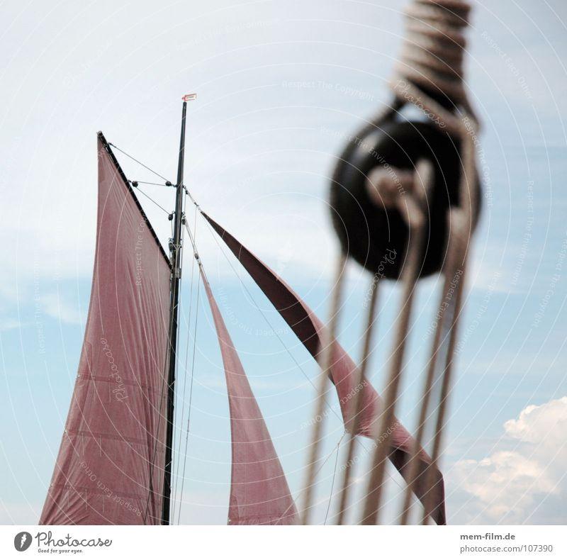 segel II Himmel Sonne Meer blau rot Sommer braun Seil 4 Segeln Schifffahrt Strommast Darß Segelboot Knoten