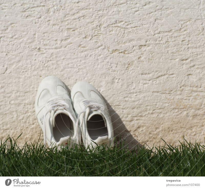 weiss- gruen Schuhe weiß Gras grün Wand Turnschuh trocken leer Sommer Pause gewaschen Blume Wiese Bekleidung Spielen Bodenbelag Fuß Einsamkeit fusskleidung