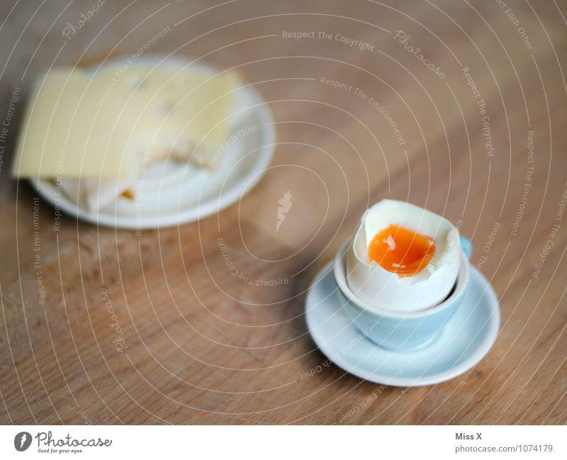 Frühstück Lebensmittel Käse Brot Ernährung Abendessen Geschirr Teller Tisch lecker Ei Hühnerei Frühstückstisch Käsebrot Snack Vesper Pause Mittagspause