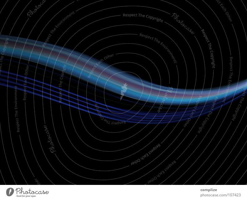 lightwaves 07 Technik & Technologie Internet Kunst Streifen glänzend fantastisch hell Geschwindigkeit blau schwarz Farbe Kontakt Mobilität Ziel Zukunft zart