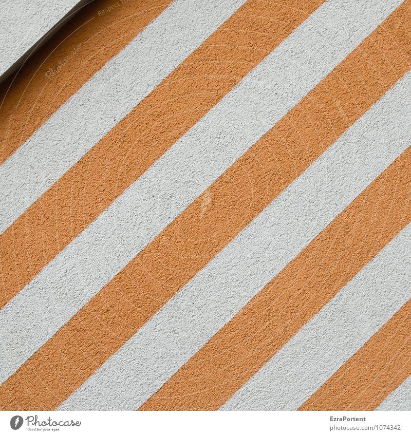 / Haus Mauer Wand Fassade Linie Streifen ästhetisch trendy orange weiß Putz Ecke Schatten Design Stil Strukturen & Formen Grafik u. Illustration