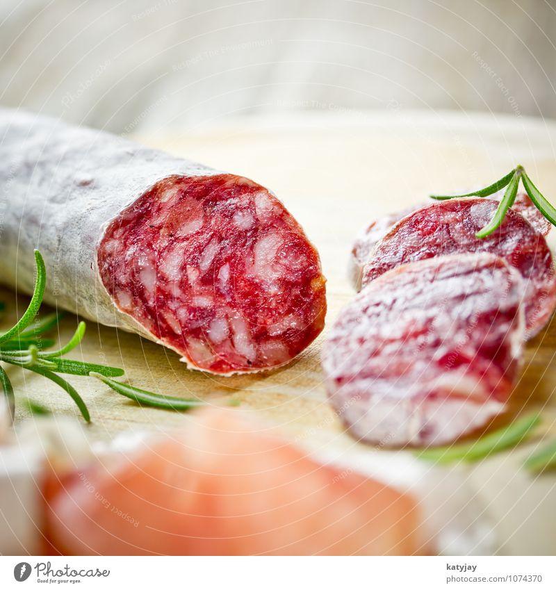 Salami Schinken Wurstwaren Rosmarin hart Frühstück Speck Parmaschinken Schweinefleisch Fett Fleisch aufgeschnitten Italien Italienische Küche Kräuter & Gewürze