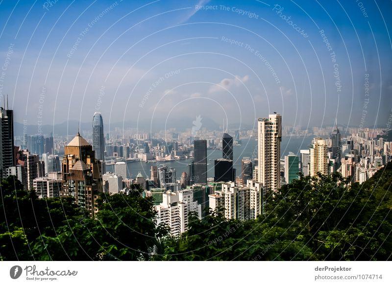 Blick aus dem Fenster auf Hongkong-Skyline Natur Ferien & Urlaub & Reisen Sommer Baum Freude Haus Ferne Wald Berge u. Gebirge Umwelt Gefühle Küste Park