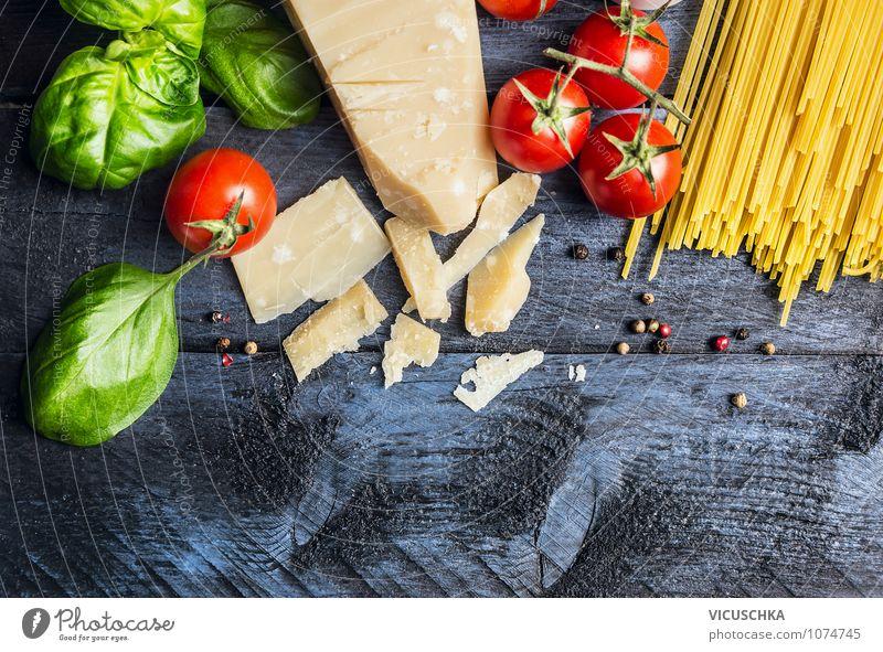 Spaghetti Zutaten fürs Kochen Gesunde Ernährung gelb Leben Stil Hintergrundbild Lebensmittel Lifestyle Design Tisch Kochen & Garen & Backen Fitness