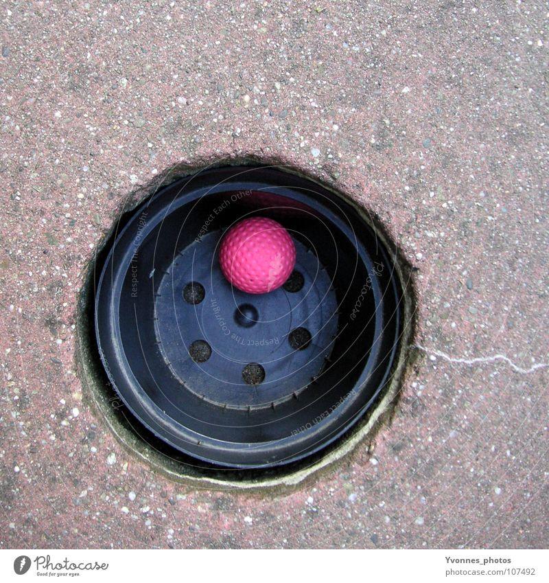 Treffer versenkt! Sommer Freude Spielen rosa Freizeit & Hobby Erfolg Kreis rund Ziel Ball Quadrat Statue Golf Loch Sportveranstaltung