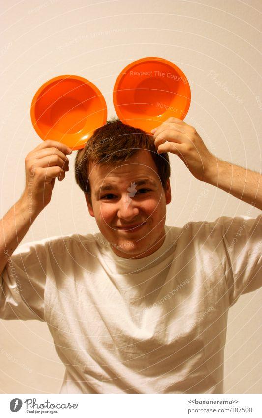 Who's the leader of the club? Mann weiß Freude Gesicht lachen orange lustig Geburtstag grinsen Comic Becher skeptisch Spaßvogel Kopfbedeckung