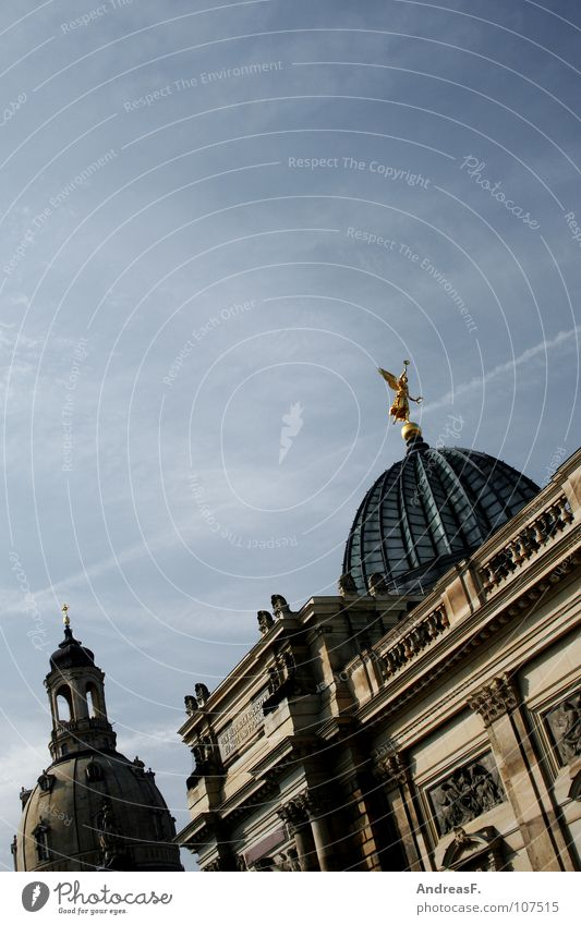 Dresden alt Religion & Glaube Kunst Tourismus Kultur Statue historisch Museum Sachsen Altstadt Kuppeldach Weltkulturerbe Frauenkirche Glaskuppel