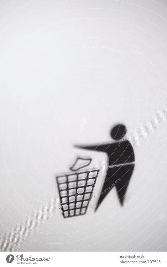 Schmeiss weg Symbole & Metaphern Ikon Müll wegwerfen Papierkorb Müllbehälter Recycling grau Mann Hinweisschild dreckig Mensch Grafik u. Illustration