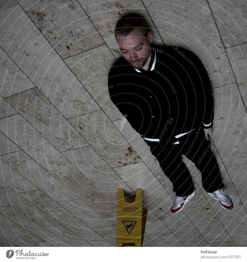 drehschwindel Mensch Mann Tod Stein Beine Fuß Arme Schilder & Markierungen liegen gefährlich Bodenbelag stehen Hinweisschild bedrohlich Reinigen fallen