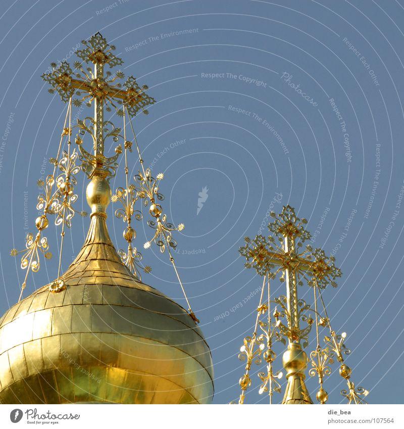 Pompös Kuppeldach Christentum Dach Reichtum wuchtig übertrieben verziert glänzend prächtig Gotteshäuser Religion & Glaube Rücken Himmel gold Barock