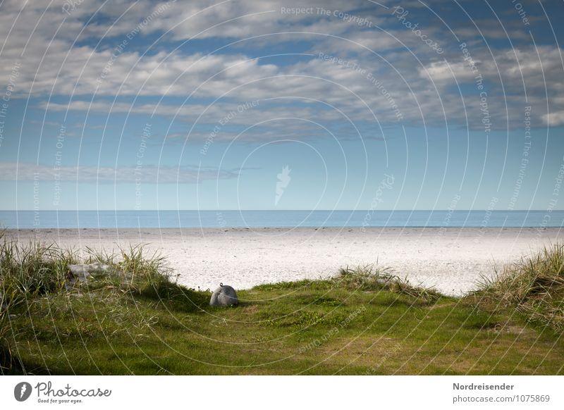 Sommer Himmel Natur Ferien & Urlaub & Reisen blau grün Wasser Erholung Meer Einsamkeit Landschaft Wolken Strand Ferne Gras Freiheit