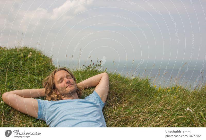Dein Traum ist mein Traum Mensch Himmel Ferien & Urlaub & Reisen Mann Sommer Erholung Meer ruhig Erwachsene Leben Gefühle Küste Glück Stimmung Lifestyle liegen