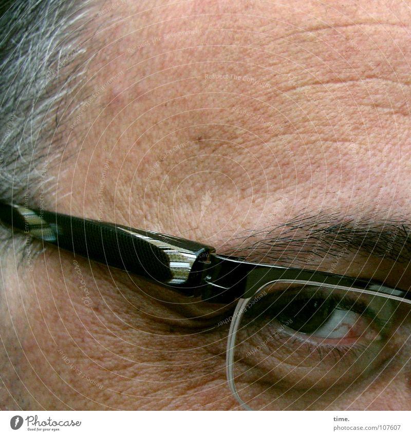Leiser Weiser Zwinkern Haare & Frisuren Zufriedenheit Mann Erwachsene Kopf Auge Brille grau Vertrauen Konzentration Gestell Stirnfalte Pupille Augenbraue