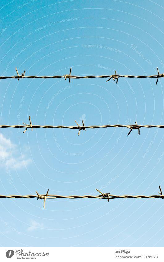 gefangen. Himmel Schönes Wetter Aggression alt bedrohlich rebellisch stachelig Perspektive Sicherheit Symmetrie Trennung Ferne Zaun Grenze Stacheldraht