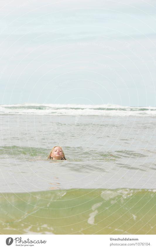 mermaid undercover Kind Mädchen Kindheit Kopf 3-8 Jahre Umwelt Natur Urelemente Wasser Wolken Sommer Wellen Meer Meerjungfrau Schwimmen & Baden Fröhlichkeit