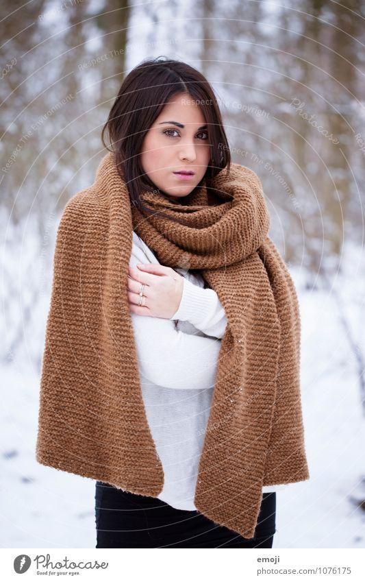 white feminin Junge Frau Jugendliche 1 Mensch 18-30 Jahre Erwachsene Winter Schnee Schal schön kalt natürlich weiß Farbfoto Außenaufnahme Tag