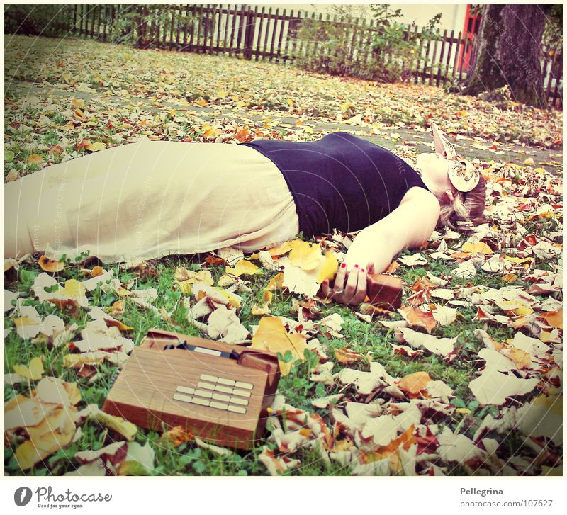 ...und dann fiel sie tot um... Frau alt Blatt schwarz Herbst Tod Gras Holz Fuß braun orange gold schlafen Telefon retro Kleid