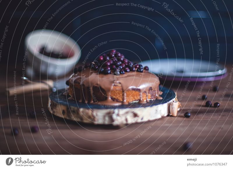 Marmorkuchen mit Schokolade & Heidelbeeren Frucht Kuchen Dessert Süßwaren Blaubeeren Ernährung lecker süß braun Kalorienreich Sünde Völlerei genießen