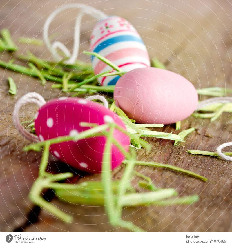 Ostereier Ostern Frühling Osternest Ei Nest Geschenk Tisch grün Farbe Farbstoff violett Saison rustikal Schnur Nahaufnahme mehrfarbig verziert Tradition