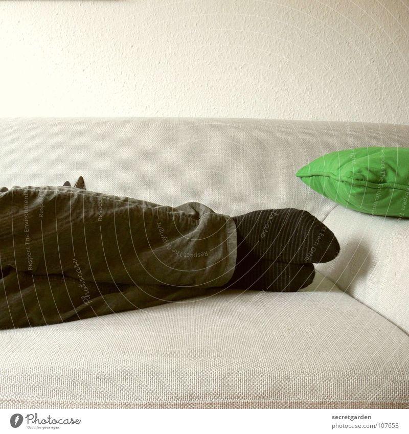 hier findet mich niemand! Ringelsocken Strümpfe Kissen Bekleidung Hose grün khakigrün schwarz grau Sofa schlafen horizontal Material ruhig ruhend Mann