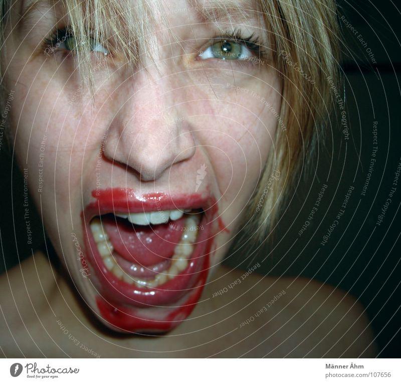 I'll be back! Frau schreien ansammeln sprechen Blut lutschen trinken Gier satt klecksen Hand Ernährung Schleim überdrüssig ungehorsam fangen genießen Sünde Lust