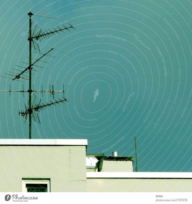 Tranquilizer Himmel blau Haus oben Fenster Kommunizieren Dach Information Verkehrswege Schornstein Antenne Begrüßung karg beruhigend Flachdach Mehringdamm