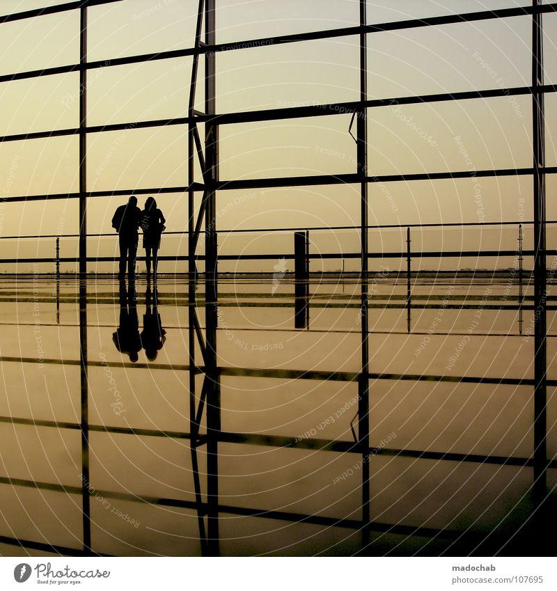 6 ZWEISAM Silhouette Mensch Mann Frau Leben Reflexion & Spiegelung Wand Himmel Sehnsucht Fernweh Stimmung Raumeindruck reisend Ferien & Urlaub & Reisen stehen