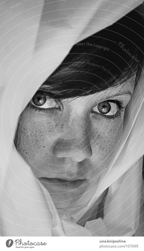 °voilée Frau Jugendliche Erwachsene Auge Junge Frau Papier Stoff Falte Sommersprossen Kapuze Tuch einpacken Faltenwurf kaschieren dunkelhaarig kulleräugig